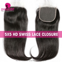 HD Swiss Lace Closure 5* 5 Human hair With Baby Hair Pre Plucked Natural Color