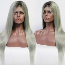 130% Density Ombre Grey Color Top Quality Virgin Human Hair Straight Hair Full Lace Wigs